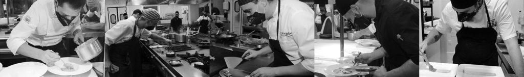 Cocineros Venta Magullo preparan comida para llevar
